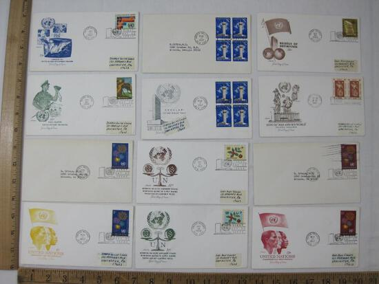 Thirteen First Day Covers 1960'S including Independence, Development Program, Peace Keeping UN