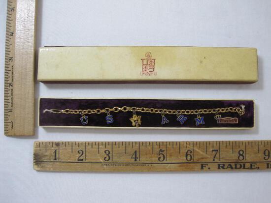 Genuine Gold Plate US Army Souvenir Charm Bracelet