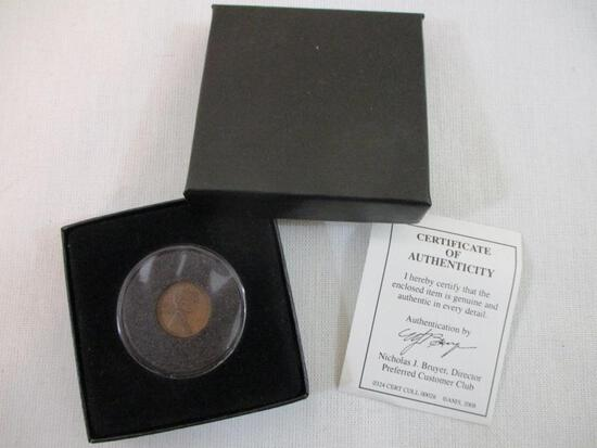 1909 VDB Lincoln Penny in Plastic Case with COA