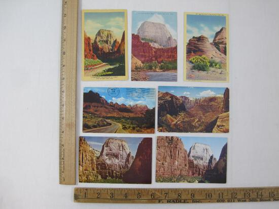 Postcards Zion National Park, 1937, 1943, 1973 and more
