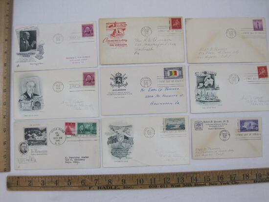 US Postage First Day Covers including Franklin Delano Roosevelt Memoriam, William Allen White, A