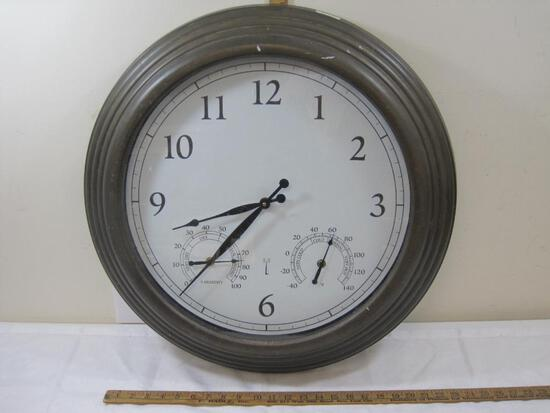Large Indoor/Outdoor Wall Clock, Battery Operated, with Thermometer and Hygrometer