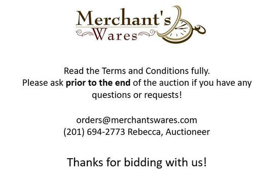 Pickup for this auction is at our Merchant's Wares Showroom, 1141 Greenwood Lake Turnpike, Ringwood