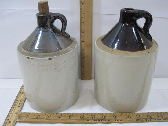 Two Stoneware Jugs, approximately 9 inches tall, 1 Dk Brown Top, 1 Lt brown Top with cork, small