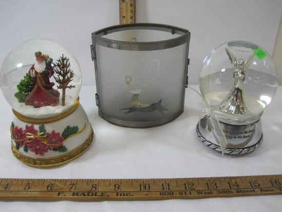 Three Table Top Christmas Decorations, 2 Snowglobes, and 1 Tea Light Candle Holder