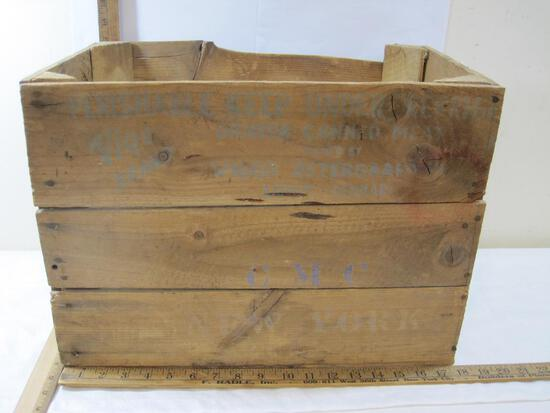 Wooden Crate, with print Viggo Brand Danish Canned Meat, CMC New York
