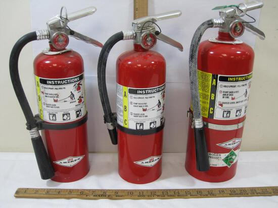 Three Amerex Fire Extinguishers, NOT Commercially Certified, 2 Model B402, 1 A443
