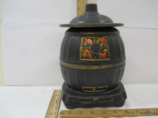 Pot Belly Stove Cookie Jar, Ceramic, see pics for details