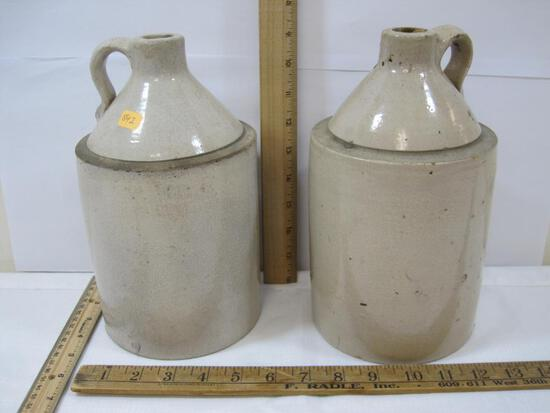 Two Stoneware Jugs, approx 9.75 inches Tall, small crack see photos