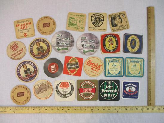 24 Assorted Beer Coasters including Whitbread Ale, Ballantine, Emrich Bier, Schlitz and more, 8 oz