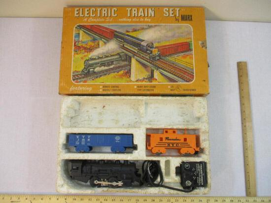 MARX Electric Train Set includes: Locomotive 490, NYC 715100 Gondola, Pacemaker NYC Caboose, and Toy