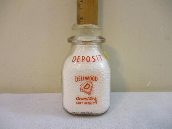 Dellwood Creami-Rich Dairy Products Embossed and Pyroglazed Half Pint Glass Milk Bottle, Duraglas, 9
