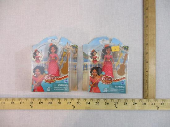 Two Disney's Elena of Avalor Figures, 2016 Hasbro, new in packages, 4 oz