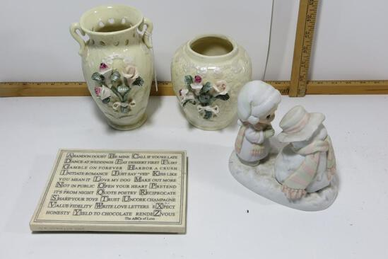 """Precious Moments, 2 decorative vases and the ABC's of Love placque. Precious Moments """"We're Going to"""