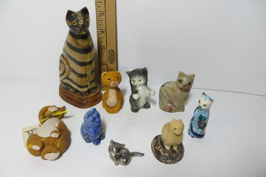 "Nine Cat Figurines, including a Goebel and Cecile ""Pumpkin"""
