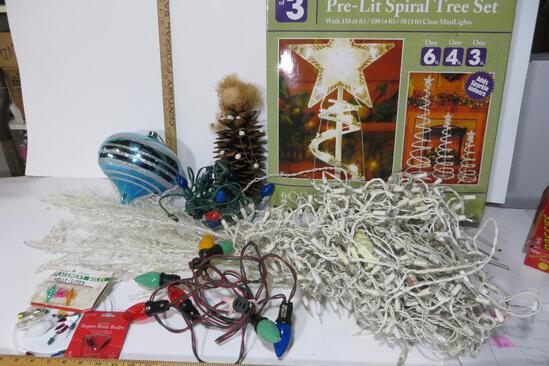 Christmas Lot - 3 spiral white metal trees in box, icicle lites, 2 strands colored bulbs, pinecone
