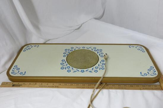 """Warming Table, top 27"""" x 11"""", 23 3/4"""" tall"""
