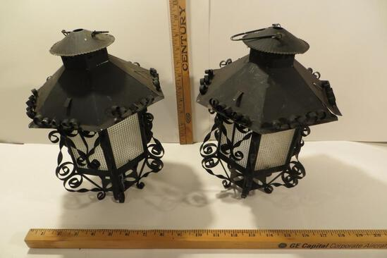Pair of Vintage Tin Candle Lamps