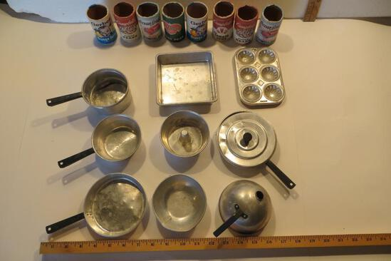 Vintage Child's Cooking Set: 8 cardboard food containers (one missing bottom) and 11 tin pans