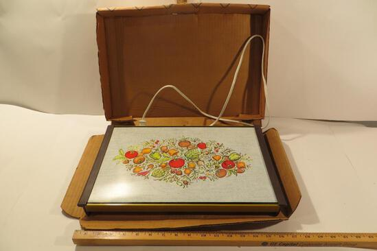 """Vintage """"Party Hostess"""" Warm Tray in box with vegetable motif"""