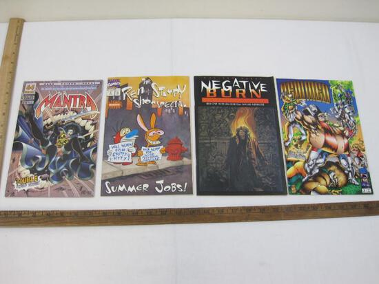 Four Comic Books: Mantra No. 10 April 1994, Newmen No. 2 May 1994, Negative Burn: An Anthology No. 1