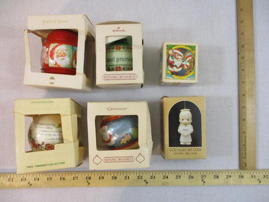 Six Vintage Christmas Ornaments from Hallmark, Precious Moments and Avon, 1 lb 2 oz