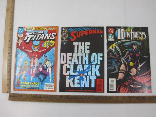 Three DC Comics: Team Titans No. 1 Sept 1992, Superman 100: The Death of Clark Kent No. 18 May 1995,