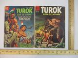 Two Silver Age Turok Son of Stone Comic Books No. 19 March-May 1960 and No. 16 June-August 1959,