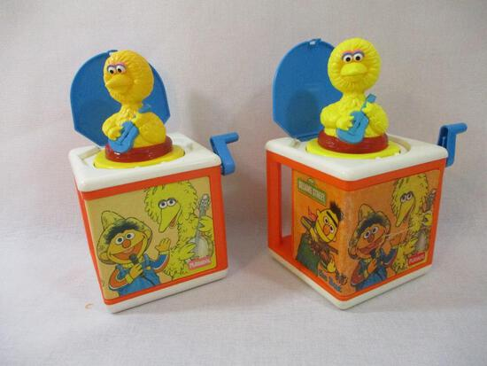 Two 1986 Muppets Sesame Street Jack-in-the-Boxes, one doesn't work properly, 2 lbs 14 oz