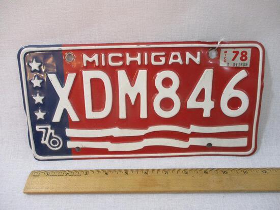 Vintage Michigan Embossed Metal License Plate: XDM846, 4 oz