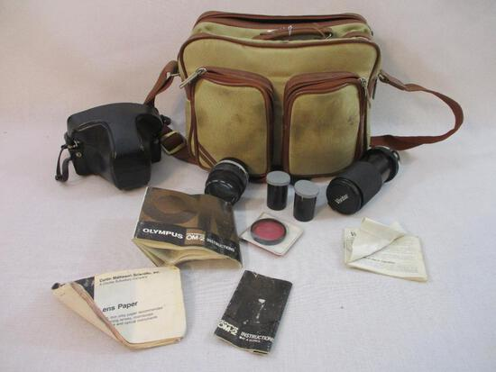 Olympus OM-2 Camera, Lens, Accessories, and Carrying Case, 6 lbs 2 oz