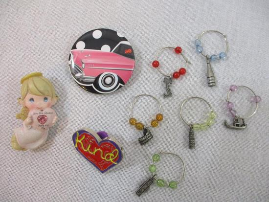 Three Pins and Assorted Wine Glass Charms including Precious Moments, Penzey Kind Heart and more, 3