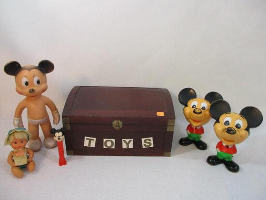 Small Wooden Toy Box with Vintage Mickey Mouse Toys including 1976 Talking Mickeys (both work), PEZ