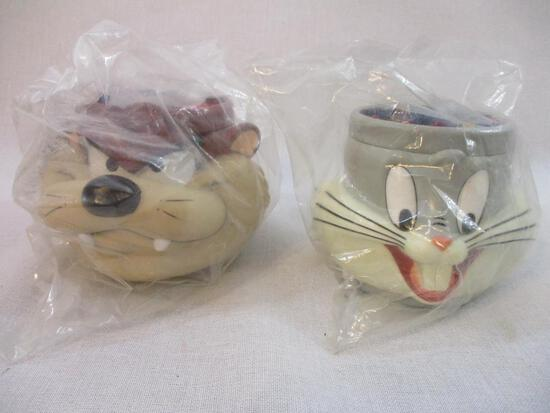 Two Plastic Figural Looney Tunes Mugs: Taz and Bugs Bunny, 1982, 15 oz