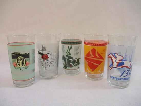 Five Kentucky Derby Glasses from 2000s, 2 lbs 2 oz
