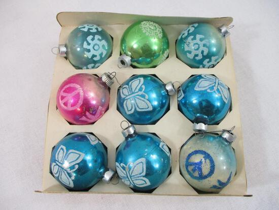 Box of Nine Vintage Glass Christmas Tree Ornaments