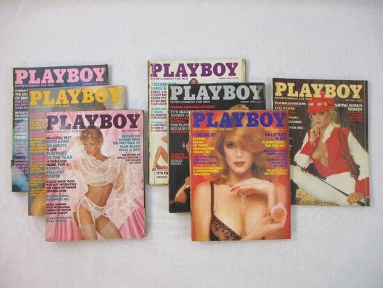 Seven 1980s Playboy Magazines from 1982 and 1983 including November 1982, January 1983, March 1983,