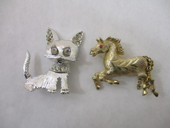 Two Animal Pins: Rhinestone-Studded Dog and Horse, 2 oz
