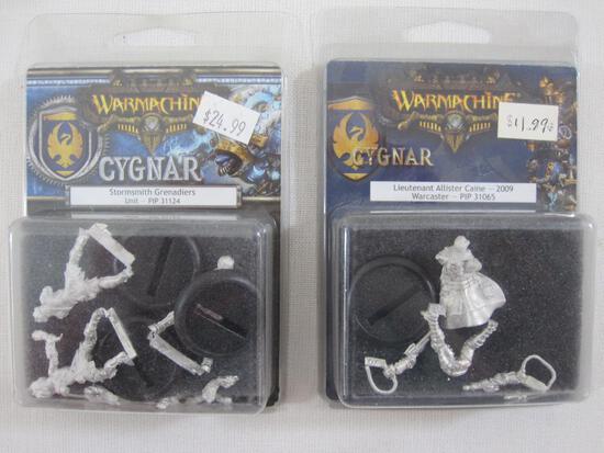 Two NIB Warmachine Cygnar Miniatures: Stormsmith Grenadiers Unit (PIP 31124) and Lieutenant Allister