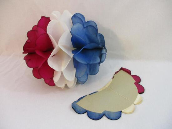 Two Folding Paper HoneyComb Ball Ornaments, approx 14 inches in diameter, 6oz
