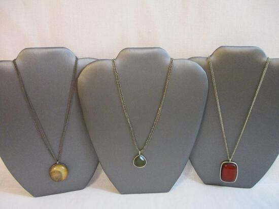 Three Silver Tone Necklaces from Baked Beads and more, 2 oz