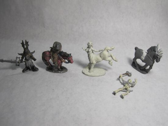 5 Ral Partha Creature miniatures, including Centaur, Skeleton, War Horse and others, 9 oz