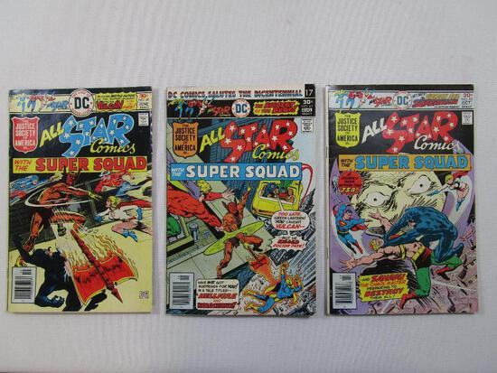 The Line of DC All Star Comics with The Super Squad 1976 June No 60, Aug No 61 and Oct N0 62, 6oz