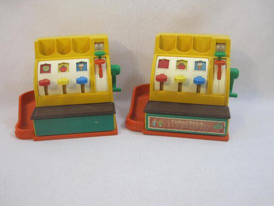 Two 1974 Fisher Price Cash Registers, tested and work, see pictures for cosmetic condition, 4 lbs 1