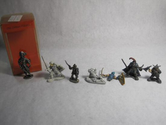 Seven Ral Partha knight miniatures, 10oz