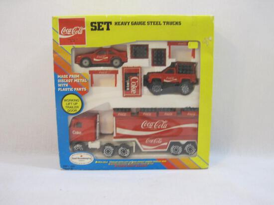 Coca-Cola Set Heavy Gauge Steel Trucks, diecast metal with plastic parts, in original box, REMCO