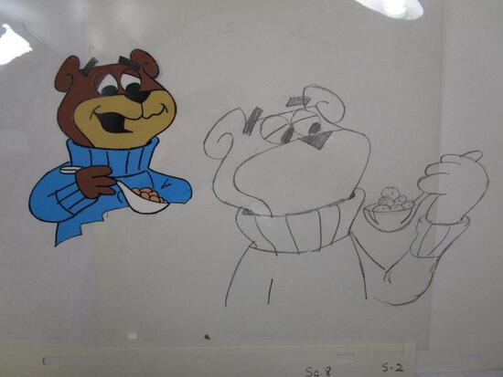 Two 1980s Sugar Bear Original Animation Artwork Production Cels