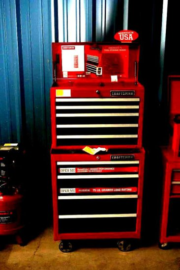 Six Drawer Craftsman Tool Box with Sockets and Wrenches