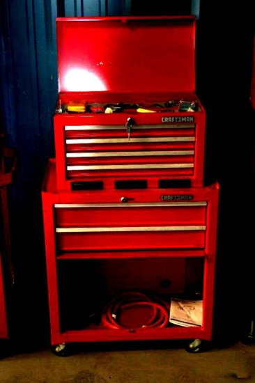 Nine Drawer Craftsman Tool Box with wrenches, sockets, and screwdrivers