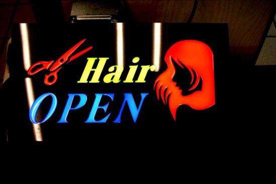 Hair Cut Open Sign